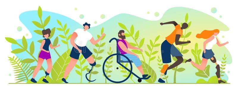 Maraton dla ludzi z kalectwo kreskówki mieszkaniem royalty ilustracja
