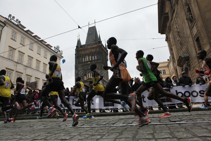 Maraton i Prague, Tjeckien royaltyfri fotografi