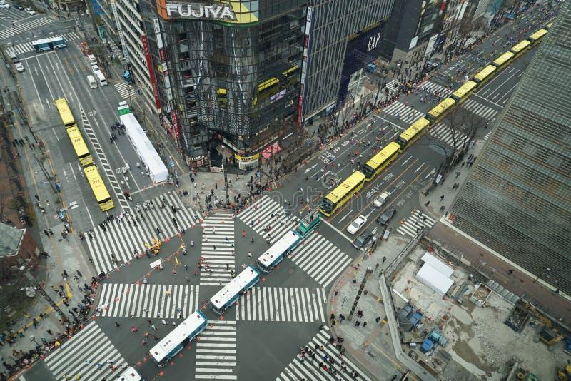 Maraton i Sukiyabashi skrzyżowanie fotografia stock