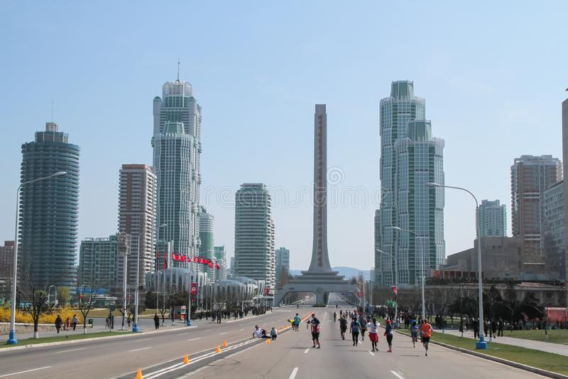 Maraton w Phyongyang w Północnym Korea obraz stock