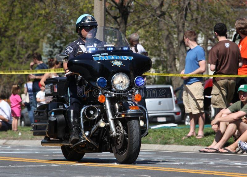 Maratona 2012 da motocicleta da polícia imagens de stock