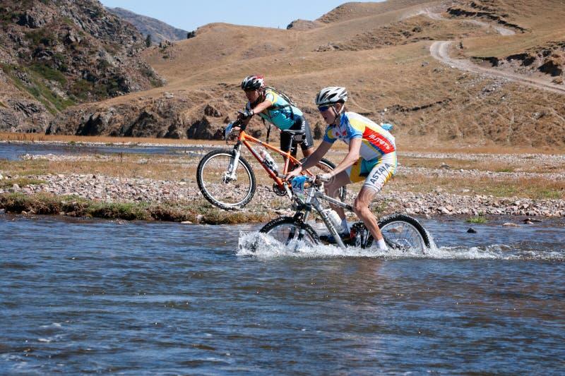 Maratona através dos campos da bicicleta de montanha imagem de stock royalty free