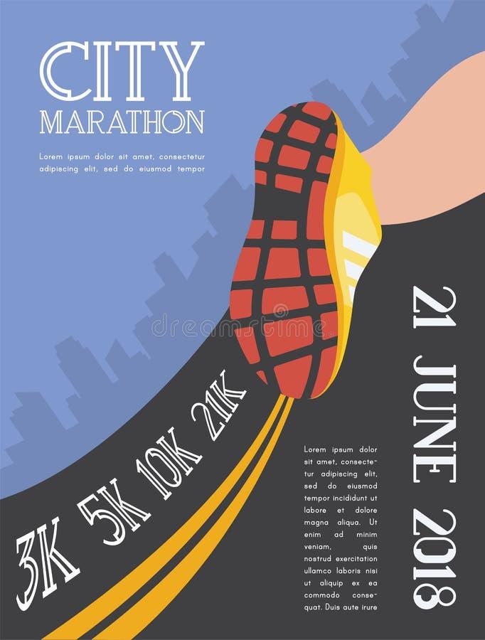 Maratona corrente della città i piedi del corridore dell'atleta che corrono sul primo piano della strada sulla scarpa nella città royalty illustrazione gratis