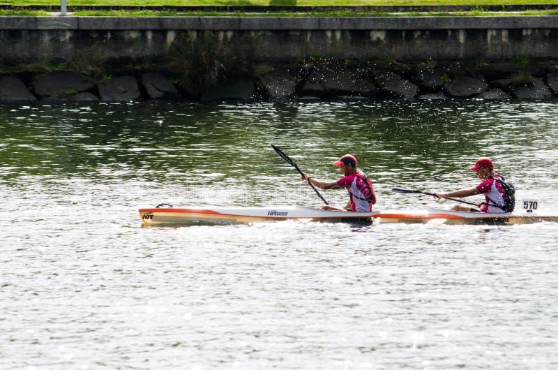 Maratona della canoa fotografie stock