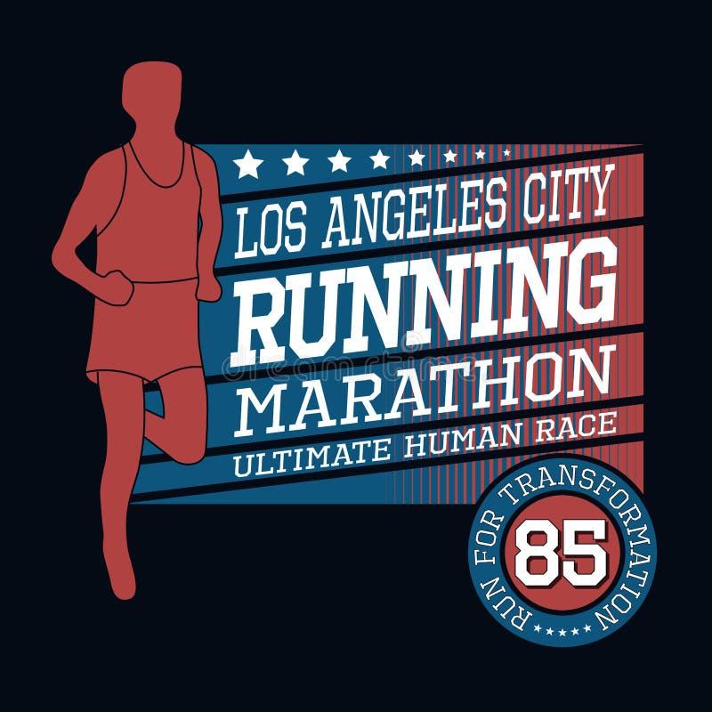 Maratona running do esporte, tipografia do t-shirt ilustração royalty free