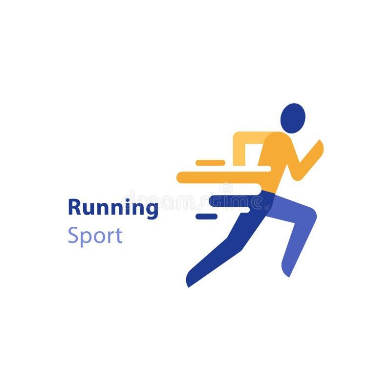 Maratonhändelse, rinnande aktivitet, abstrakt löpare, triathlon, vektorsymbol vektor illustrationer