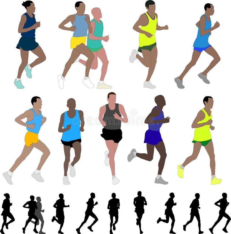 maratonlöpare vektor illustrationer