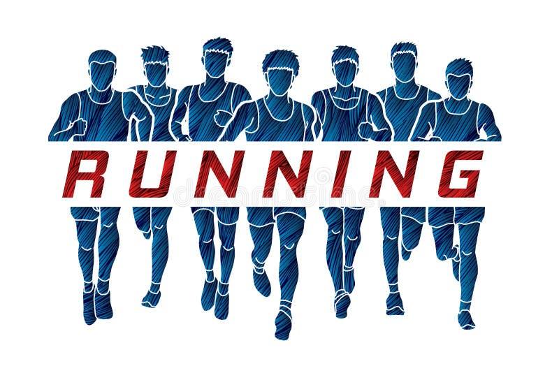 Maratonlöpare, grupp av män som kör med textspring royaltyfri illustrationer