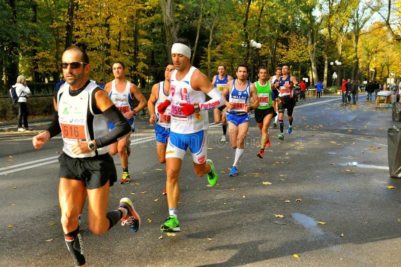 Maratonlöpare i Florence, Italien arkivbilder