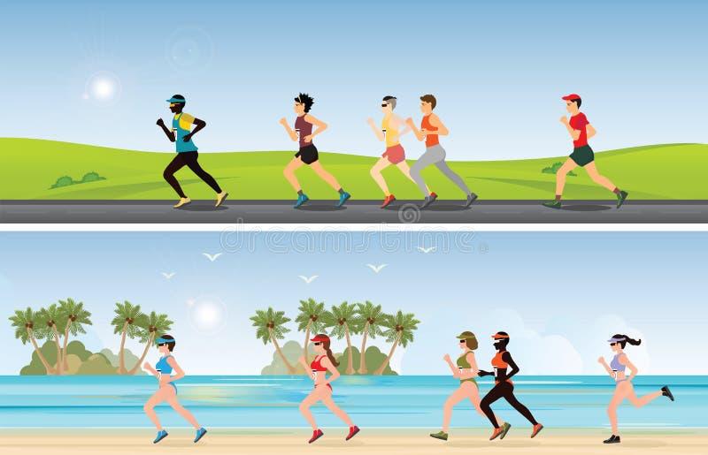 Maratonlöpare konkurrerar på den tropiska stranden och solig dag royaltyfri illustrationer