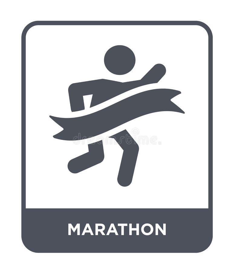 maratonsymbol i moderiktig designstil maratonsymbol som isoleras på vit bakgrund enkel och modern lägenhet för maratonvektorsymbo royaltyfri illustrationer