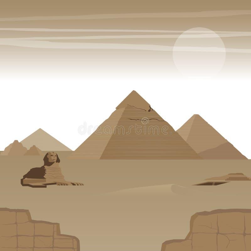 Maravilha 7 da grande pirâmide do mundo ilustração do vetor