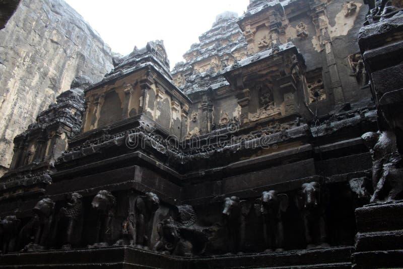 A maravilha de Kailasa de cavernas de Ellora, o rocha-corte t monolítico foto de stock royalty free