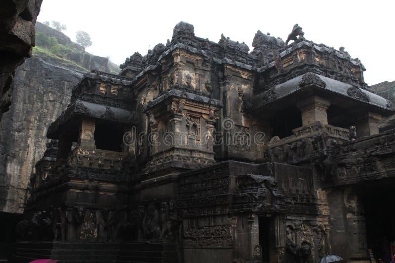 A maravilha de Kailasa de cavernas de Ellora, o rocha-corte t monolítico imagem de stock royalty free