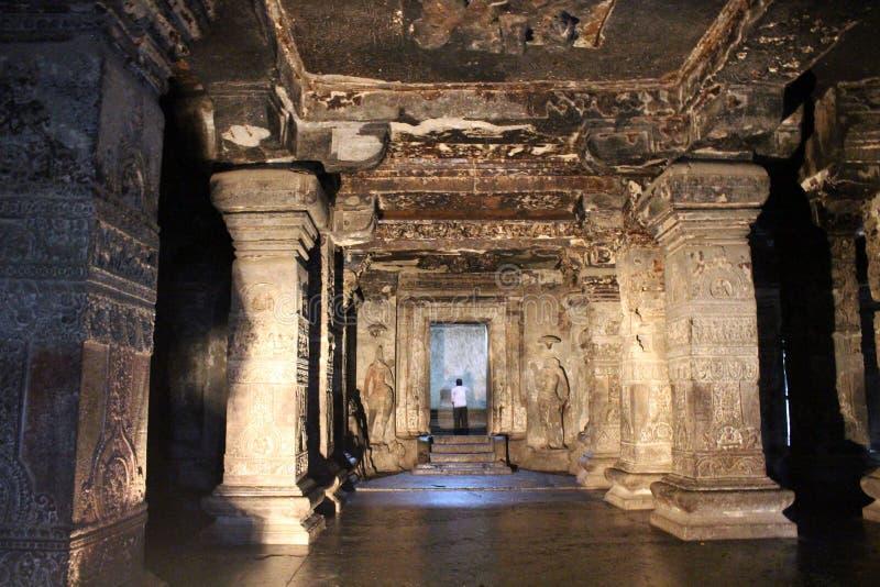 A maravilha de Kailasa de cavernas de Ellora, o rocha-corte t monolítico imagem de stock