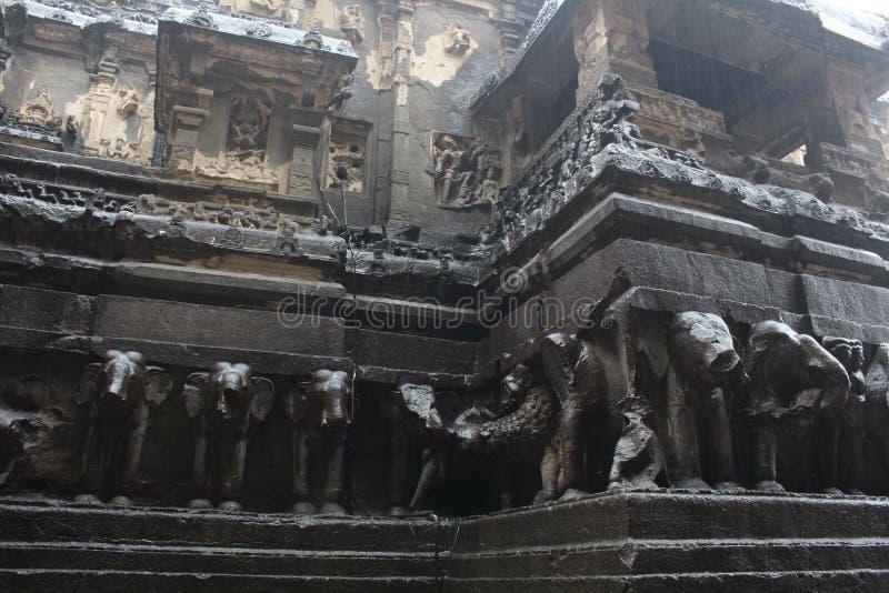 A maravilha de Kailasa de cavernas de Ellora, o rocha-corte t monolítico imagens de stock royalty free