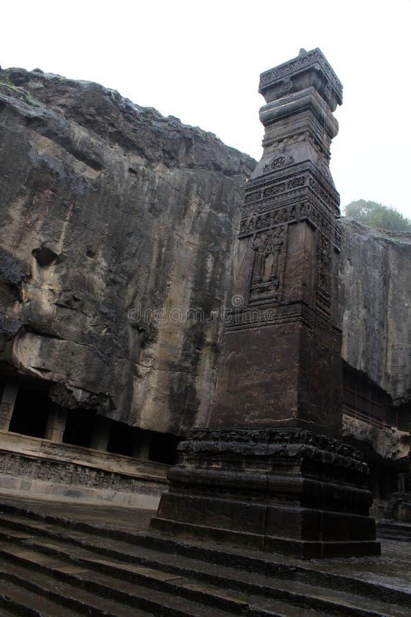 A maravilha de Kailasa de cavernas de Ellora, o rocha-corte t monolítico fotos de stock royalty free