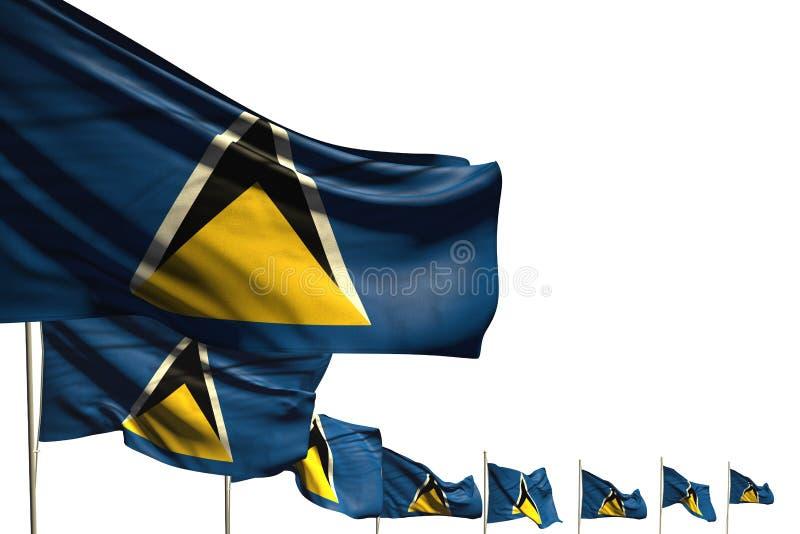 Maravilhoso muitas bandeiras de St Lucia colocaram a diagonal isolada no branco com espaço para seu texto - toda a ilustração da  ilustração do vetor