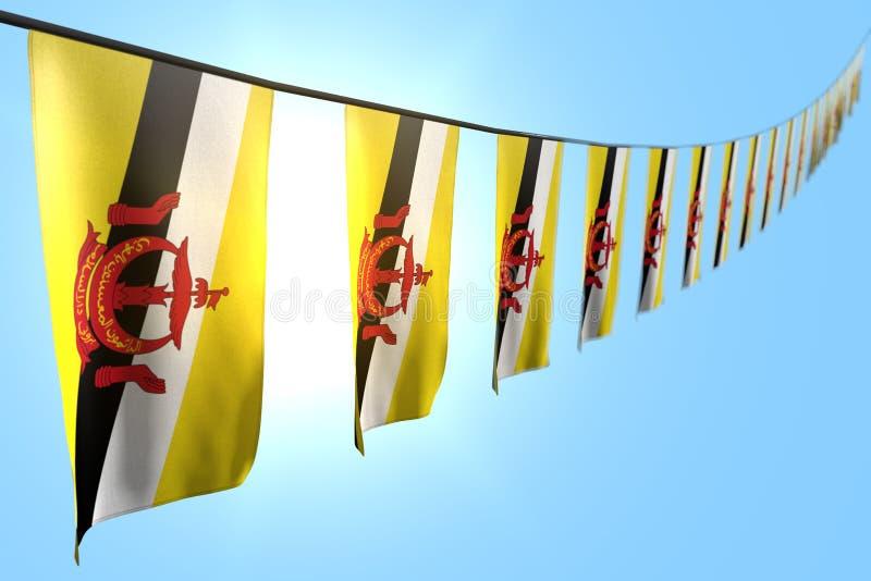 Maravilloso muchas banderas o banderas de Brunei Darussalam cuelgan la diagonal en cuerda en fondo del cielo azul con el bokeh -  ilustración del vector