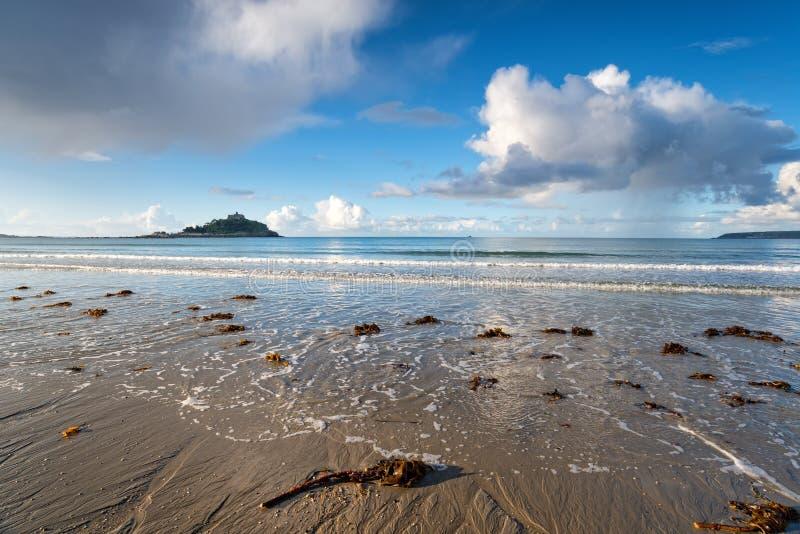 Marazion海滩在康沃尔郡 免版税库存图片