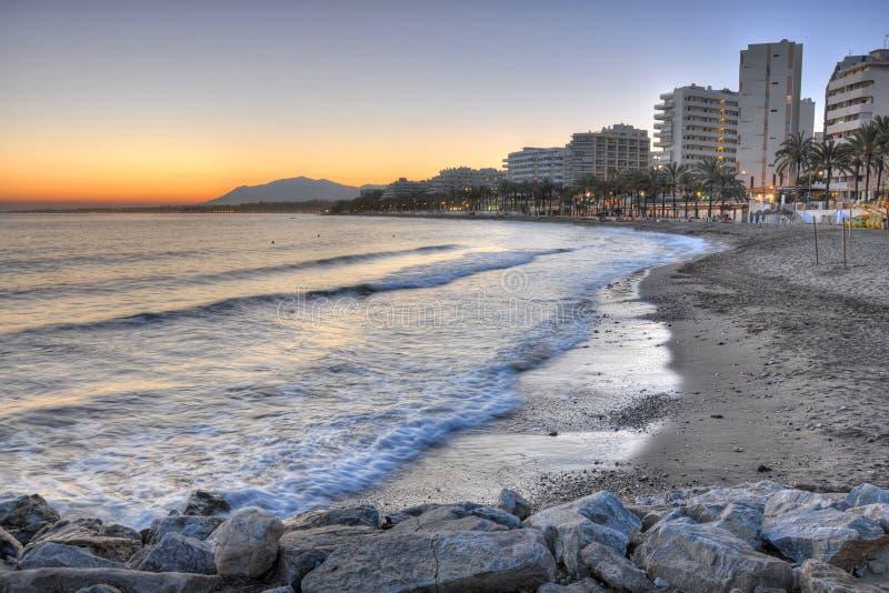 Marbella海滩, Costa del Sol,西班牙 库存照片