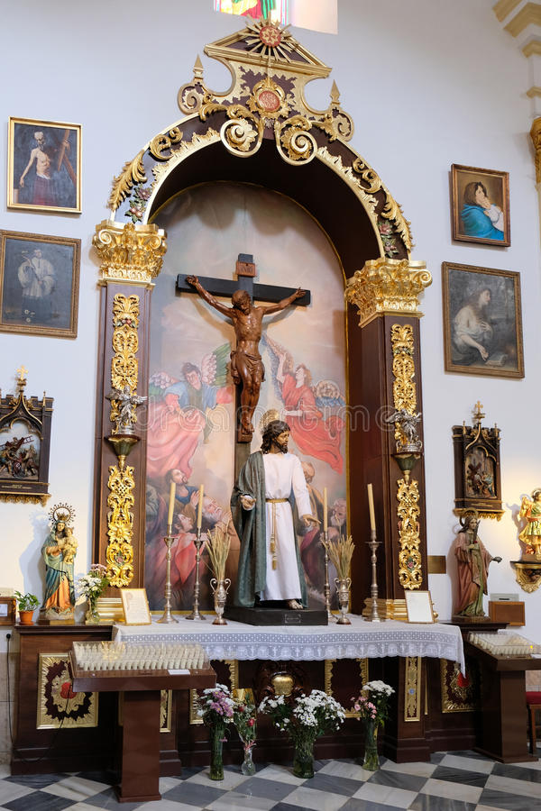 MARBELLA, ANDALUCIA/SPAIN - 6. JULI: Statue von Christus im Chu stockfotografie
