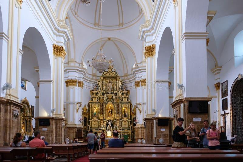 MARBELLA, ANDALUCIA/SPAIN - LIPIEC 6: Wnętrze kościół t fotografia stock