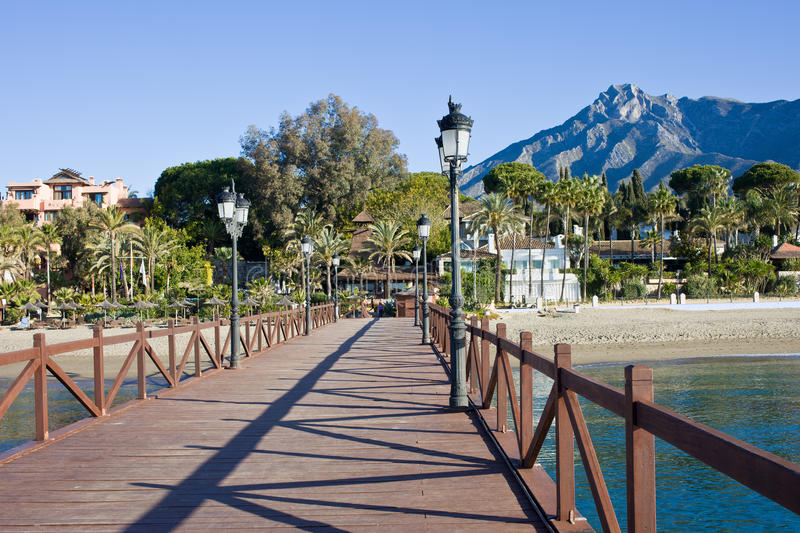 Marbella Beach Pier and Sea in Spain royalty free stock image