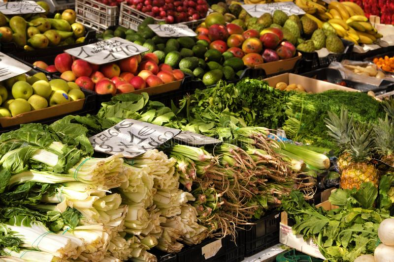 Marbella, Malaga province, Andalucia, Spain - March 18, 2019 : fresh fruits and vegetables for sale in a local farmers market royalty free stock photos