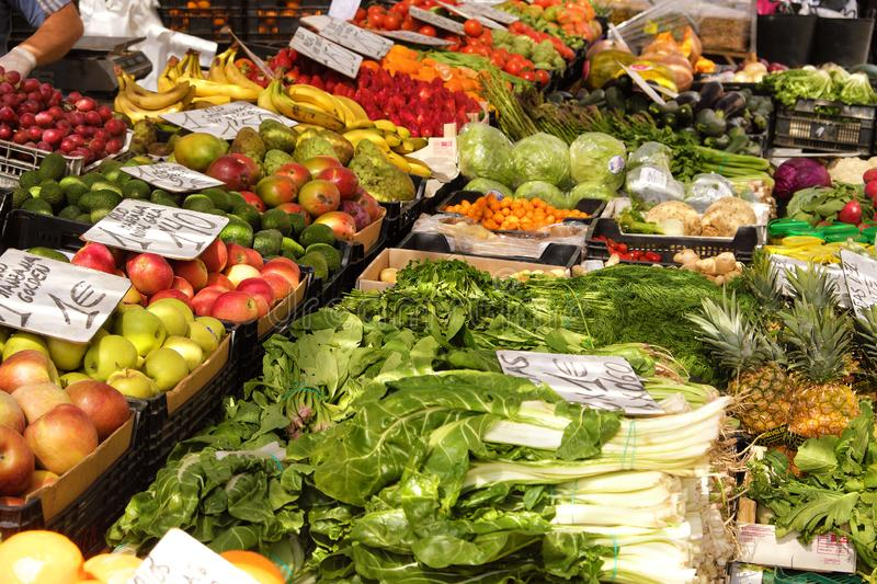 Marbella, Malaga province, Andalucia, Spain - March 18, 2019 : fresh fruits and vegetables for sale in a local farmers market royalty free stock photo