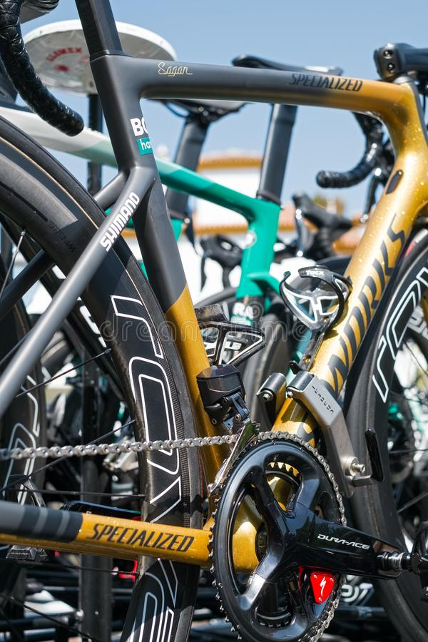 Peter Sagan from Bora Hansgrohe Cycling Team spare bike royalty free stock photo