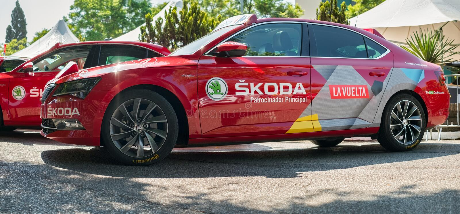 He SKODA advertisement cars parked at the start of the Vuelta de Espana 2018 stock photos