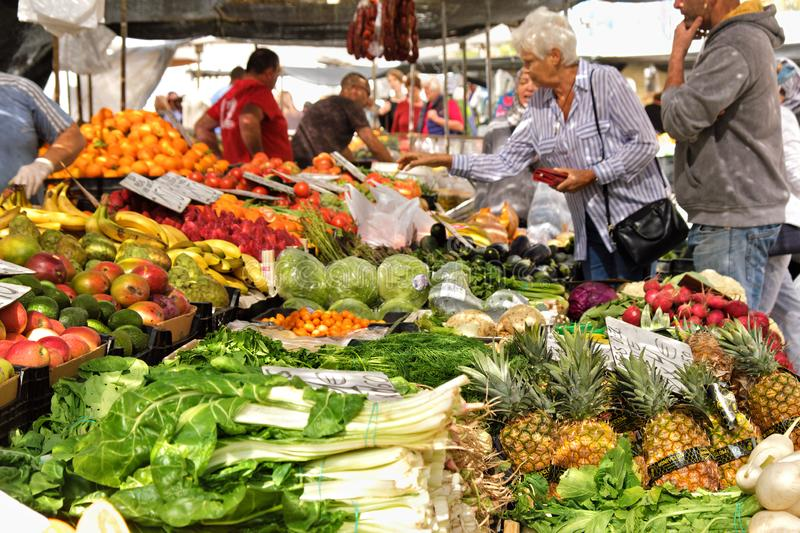 Marbella, Spain - March 18, 2019: Fresh fruit and vegetable local market in southern Spain royalty free stock images