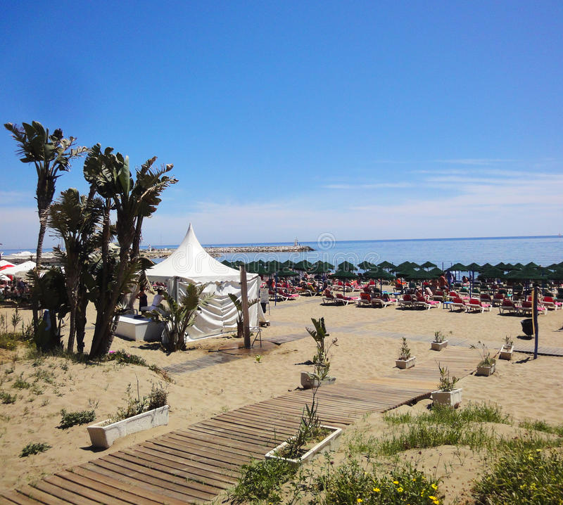 Marbella strand royalty-vrije stock foto