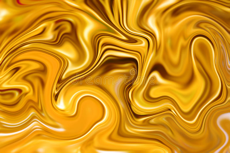 Marble abstract background digital illustration. Liquid gold surface design. Yellow paint mix. Precious metal flow image. Gold marble texture. Suminagashi ink stock photography