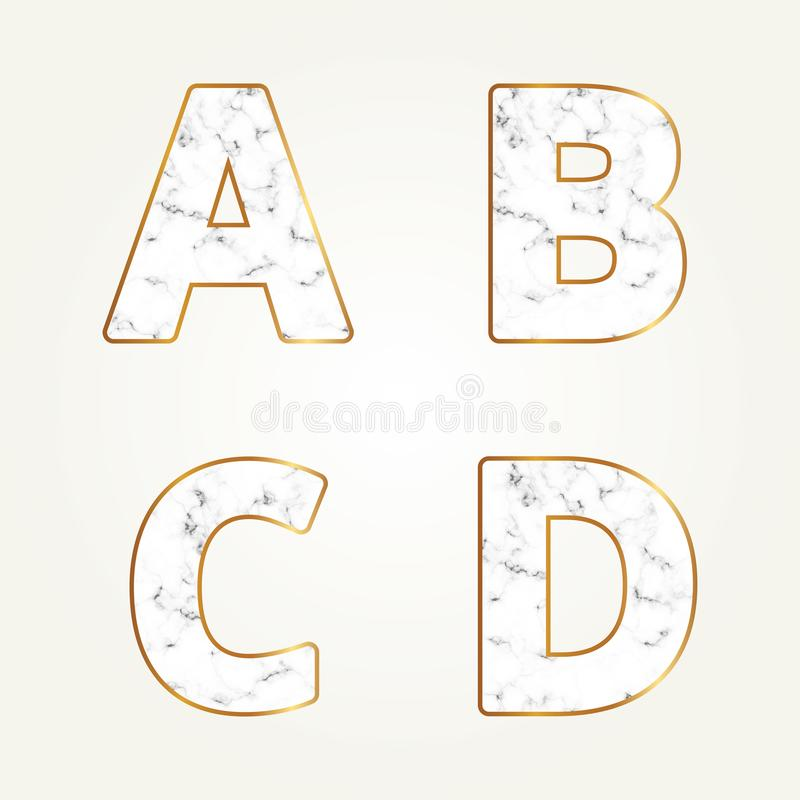 Marble alphabet, signs letters A, B, C, D. Modern white marble font vector illustration