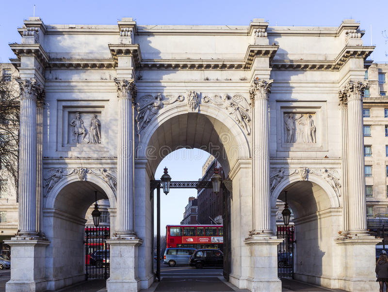 Marble Arch. At the City of Westminster, London UK is a triumph arch made of white marble is located at the junction Oxford Street, Park Lane and Edgware Road stock image