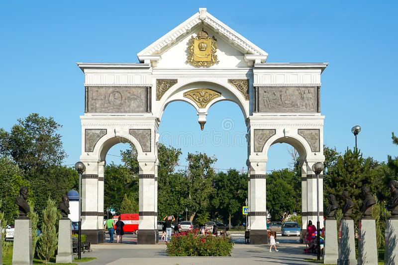 Marble Arch at the entrance to the alley of heroes of the Astrakhan land. Russia. / Astrakhan. Astrakhan Kremlin Fortress. Assumption Cathedral and the bell stock images