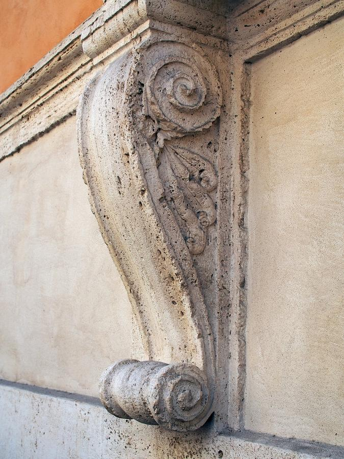 Marble Architectural Scroll, Rome, Italy royalty free stock photography