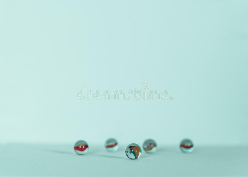 Marble balls, colorful and isolated in white background royalty free stock photography