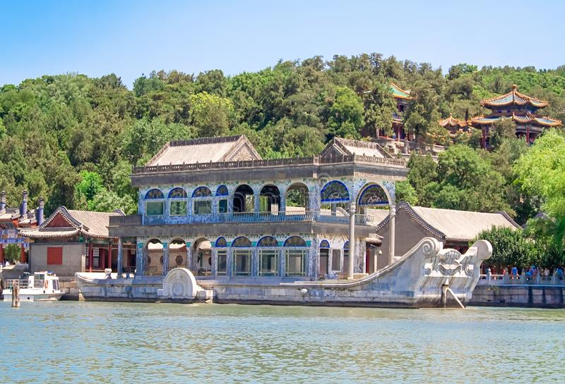 Marble Boat also known as the Boat of Purity and Ease in Summer Palace, Beijing, China royalty free stock photos