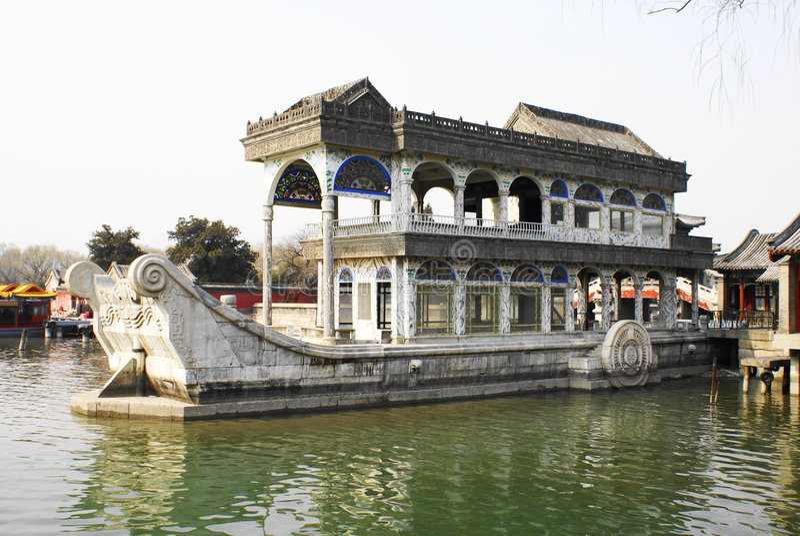 Marble boat beijing stock photo