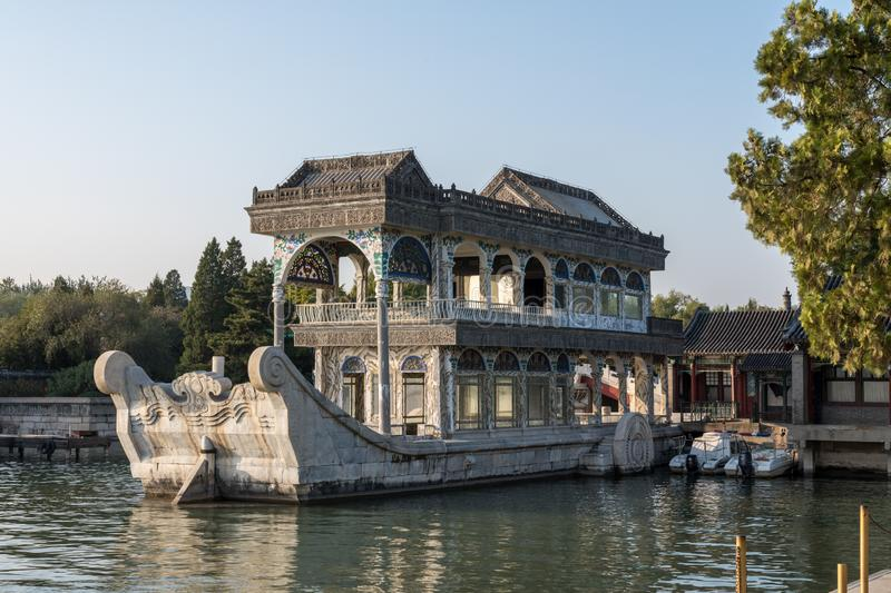 Marble boat at Summer Palace outside Beijing, China stock photos