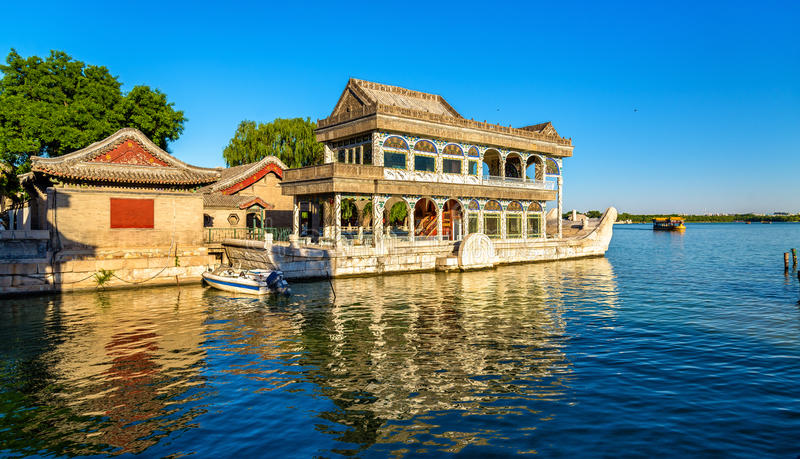 Marble Boat at the Summer Palace in Beijing stock photo
