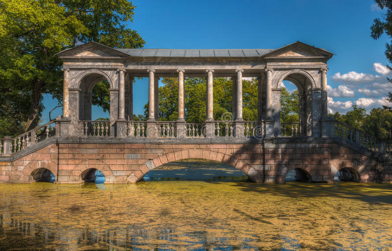 Marble Bridge, Catherine Park, St. Petersburg royalty free stock photography