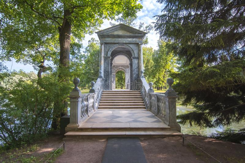 Marble bridge in Catherine park, Tsarskoe Selo, Saint Petersburg, Russia stock photo