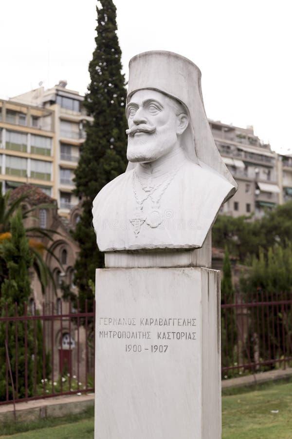 Marble bust statue of Germanos Karavangelis, Metropolitan Bishop of Kastoria, Thessaloniki, Greece stock images