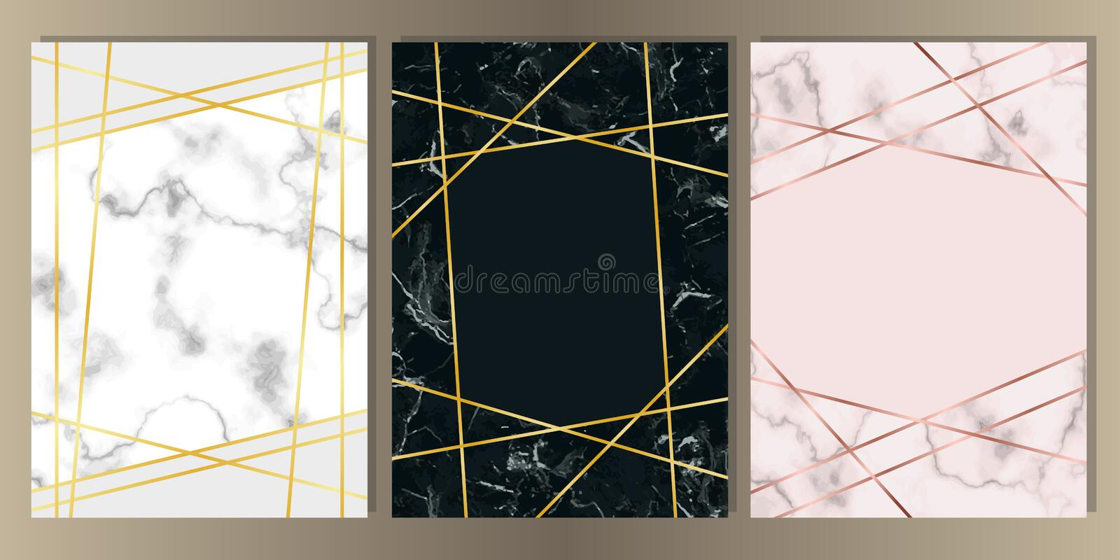 Marble A4 Card with Gold Line Set stock illustration