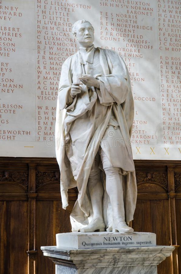 Statue of Isaac Newton, Trinity College, Cambridge. Marble carved statue of Isaac Newton in the chapel of Trinity College in Cambridge, United Kingdom stock image