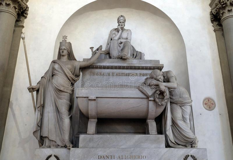 Marble cenotaph to Italian medieval poet Dante Alighieri, Basilica di Santa Croce in Florence royalty free stock photo